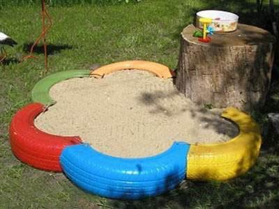 Как сделать песочницу из покрышек