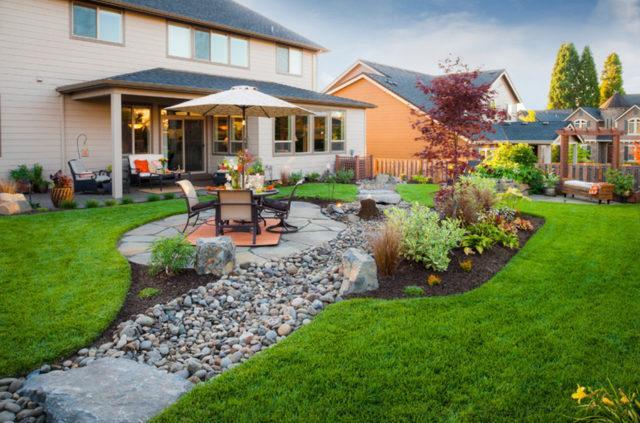 Ландшафтный дизайн двора частного дома: фото, проекты